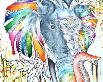 Abstract Elephant Head Animal Art Print