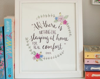 Jane Austen Quote - Original 8x10 - Literary Quote - Illustrated - Floral