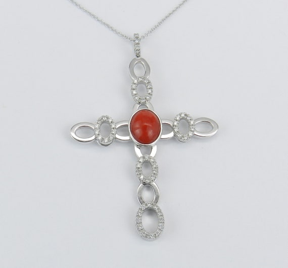 """18K White Gold Diamond and Coral Cross Pendant Necklace 18"""" Chain Religious"""