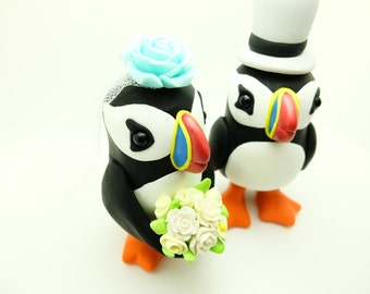 Puffin couple wedding cake toppers