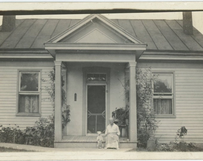 Vintage Photo RPPC: Woman & Her Dog on Front Stoop, c1910s [86691]