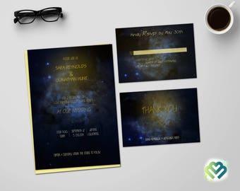 Galaxy Blue Wedding Invitation Universe Wedding Invitation Night Wedding Invitation Suite Starry Night Wedding Invite Printable DIY Invite