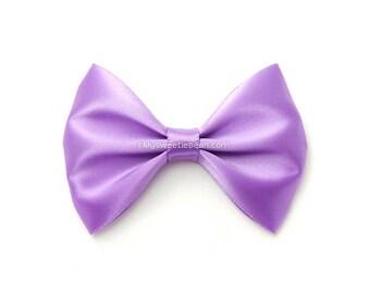 Grape Hair Bow, 3 Inch Bow, Satin Hairbow, Light Purple, Girls Hairbow, No Slip Basic Bow