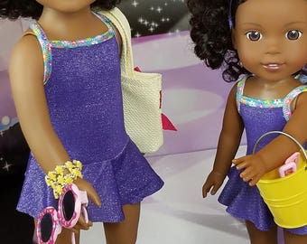 """Me & My Twin, Purple Swimsuits made to fit 18"""" and 14.5"""" dolls like Journey Girls and AG Wellie Wishers"""