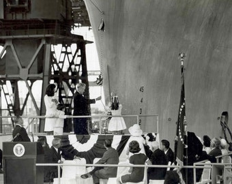 Caroline Kennedy Christens the USS John F. Kennedy in 1967 as President Lyndon Johnson Watches - 5X7 or 8x10 Photo (AA-139)