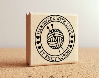 Personalized Knitting Rubber Stamp, Handmade with Love Knitting Stamp