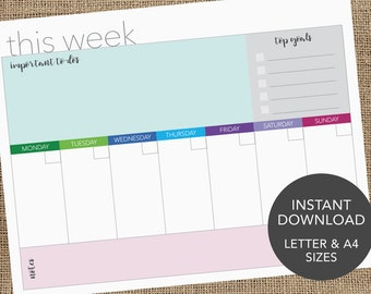 Instant Download // Printable Weekly Planner // Weekly Agenda // Family Planner // Weekly To-Do List // Printable To Do List
