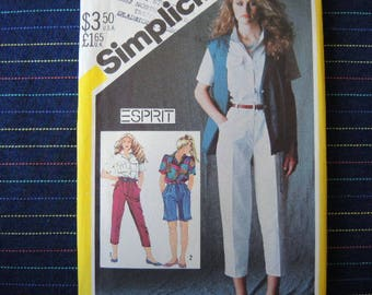 vintage 1980s simplicity sewing pattern 5584 ESPRIT UNCUT shirt tapered pants shorts and unlined vest size 12