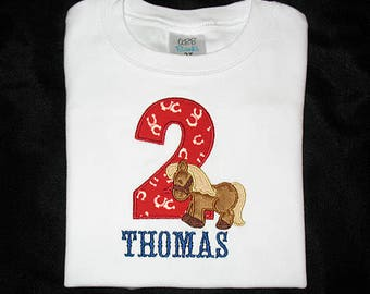 Custom Personalized Applique Birthday Number Minky HORSE and NAME Shirt or Bodysuit - Red Horseshoes Fabric, Brown, Tan, and Navy Blue