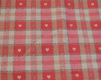 Beige and Red hearts and checkered cotton fabric coupon