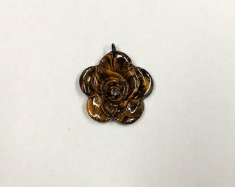 Black and gold polymer clay rose pendant