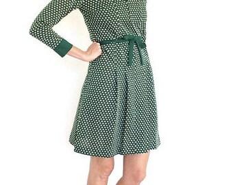 vintage 70s forest GREEN polka DOT mod belted dress S-M
