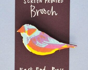 Sicklebill Bird Wooden Screen Printed Brooch - pin badge