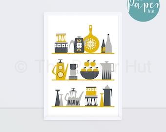 Kitchen | Art Print Mustard Yellow and Grey A3 | Scandinavian Retro Contemporary