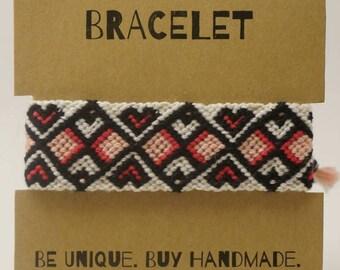 Heart Pattern Friendship Bracelet, Woven Cuff Friendship Bracelet, Heart Friendship Bracelet, Knotted Bracelet