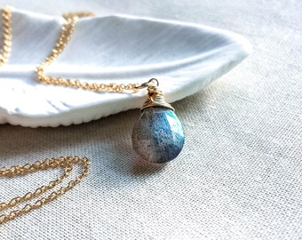 Gold Labradorite Pendant Necklace: 14k Gold Fill Wire Wrapped Blue Flash Labradorite Gemstone Drop Artisan Jewelry Handmade Simple