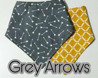 Grey Arrows Bib, Reversible bibdana, grow with me, infant drool Bib, toddler drool