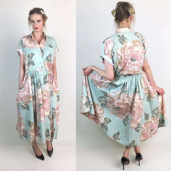 80's Pastel Rose Print Midi Dress With Pockets Size 4/6 Small - A-line Button Front Mint Green Pink Short Sleeve Circle Dress With Collar