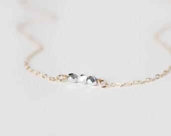 Perlenkette - Erbse - Metallic-Silber