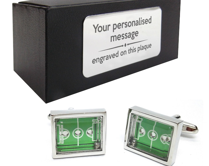 Football pitch, footballers, football, moving ball novelty CUFFLINKS gift, presentation box PERSONALISED ENGRAVED plate - 007