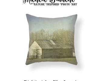 Barn Pillow Case,  Farm Photo Pillow, Texas Landscape Decor, Farmhouse Trees Toss Pillow, Rustic Barn Photo Throw Pillow Cover