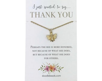 Back to school teacher gifts, volunteer thank you, appreciation gift, small gold or silver bee necklace with card, professor gift,  PTA gift