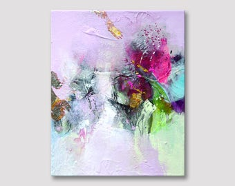 Originele abstract schilderij, originele kleine kunst, Acryl schilderij, originele kunst, kunst metaal, bladgoud, schilderen op geweven doek, roze