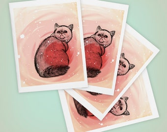 Trippy Exotic Shorthair Cat Blank Greeting Cards, Size A2, SET OF FOUR, Mini Art, Drawing, Pets, Weird, Catnip, Matte Finish