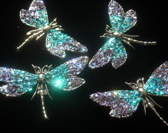 Magnetic Glitter Dragonfly Brooch/Pin