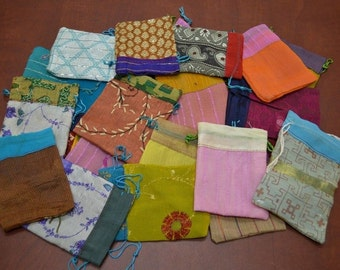 12 Pieces Handmade DRAWSTRING JEWELRY Gift POUCHES 3 x 4 Bags