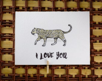 Valentines Day - I Love You Leopard of Love - Greeting card