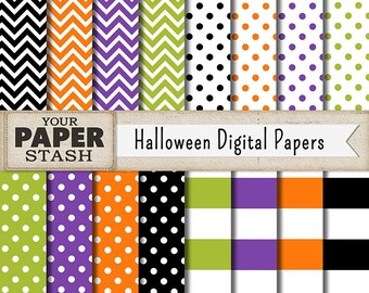 Halloween Digital Scrapbook Paper Backgrounds, Polka Dot Chevron Striped Digital Papers, Orange Green Purple Halloween Patterns, Download