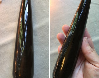 Black Obsidian Gemstone Massage Wand Yoni Wand 7 silver sheen 7 inches rounded healing crystal tool 9.3 ounces