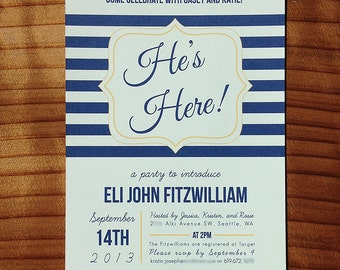 Meet and greet etsy hes here baby shower meet and greet invitation m4hsunfo