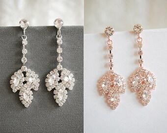 60% OFF SALE,Rose Gold Wedding Earrings, Crystal Bridal Earrings, Vintage Style Leaf Dangle Earrings, Art Deco Wedding Jewelry, JOCASTA