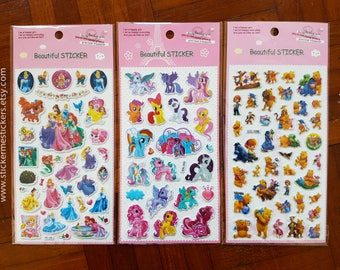 Puffy My Little Pony sticker, Disney Princess sticker, Winnie the Pooh sticker, My Little Pony, Disney Princess, Pooh Bear, Unicorn sticker