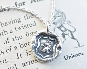 unicorn wax seal necklace - unicorn pendant - courage, virtue, strength - fine silver Georgian era antique wax seal jewelry