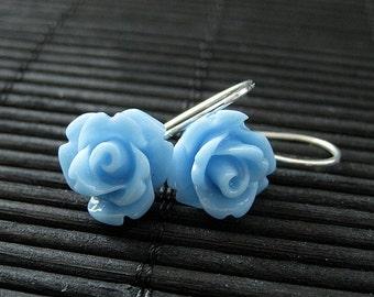 Blue Rose Dangle Earrings. Silver Hook Flower Earrings. Flower Jewelry. Handmade Jewelry.