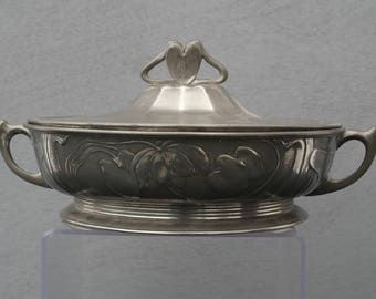 Orivit Model 2128 Art Nouveau Pewter Bowl with lid made in Germany around 1900
