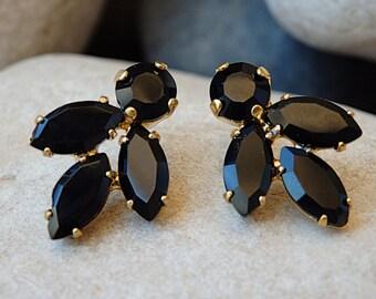 Black Crystal Earrings, Black Stud Earrings, Black Evening Earrings, Black Swarovski Earrings, Black Cluster Earrings, Black Post Earrings
