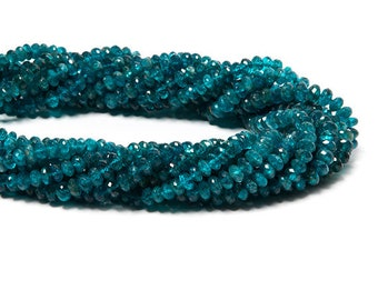 2 strands listind 3to 4mm Neon Apatite faceted rondelle Beads 13inch