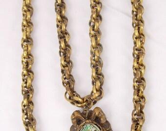 Vintage  DECO Egyptian REVIVAL Czech necklace Pharaoh head