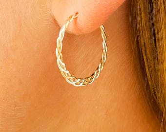 Hoop Earrings, Braided Hoop Earrings, Silver and Gold Hoop, Sterling Silver, 14K Gold Filled