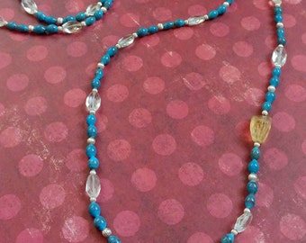 Beauty Gift Long Blue Beaded Necklace with Faceted Citrine Gemstones and Sterling Silver Accent Beads