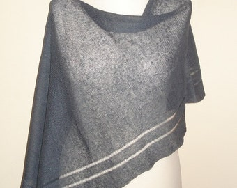 Slate gray natural linen poncho, summer poncho, wedding shawl, evening shawls wraps, birthday gift for her, shrug, cover up