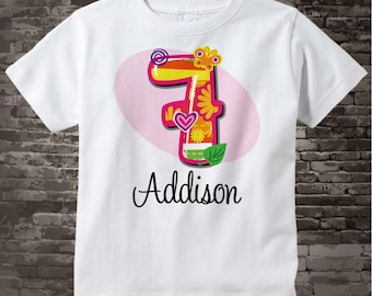 Seven Year Old Shirt with Name, Seventh Birthday Shirt, Fancy Number 7th Birthday, Personalized Girls Birthday t-shirt 04152013a