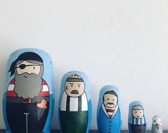Pirate theme dolls, russian dolls, nesting dolls, matryoshka babushka dolls