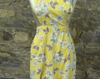 yellow floral COTTON FULL APRON vintage