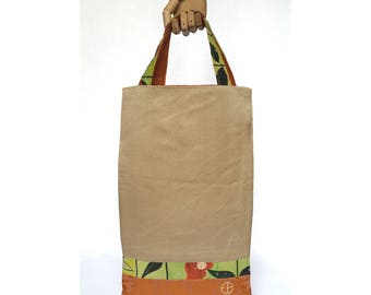 short handles, fabric tote bag hand painted