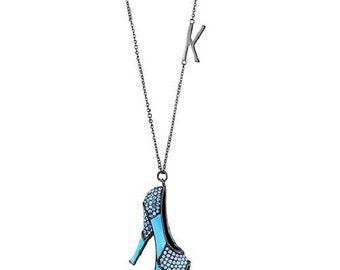 Stainless Steel IP Light Black Aquamarine Crystal Women's Necklace